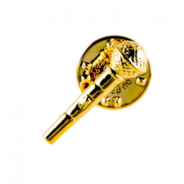 Pin micrófono dorado