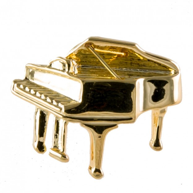 Pin piano de cola dorado