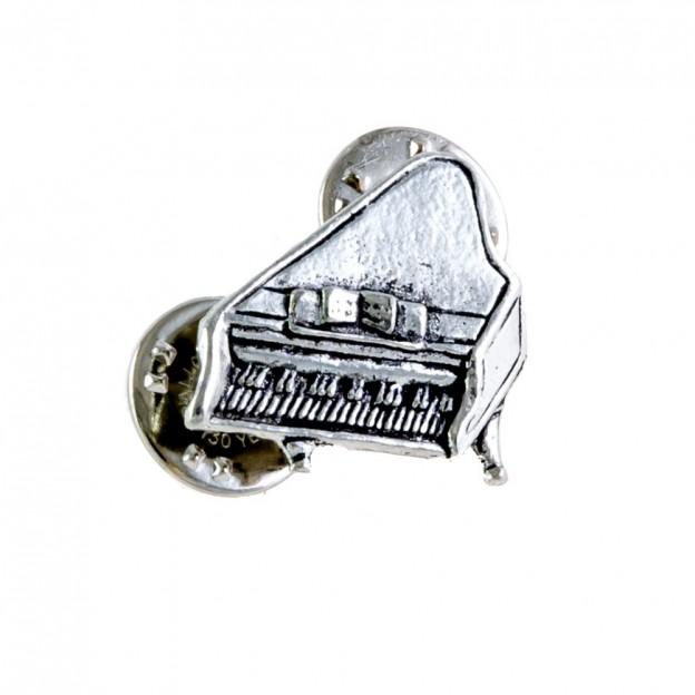 Pin piano de cola plateado
