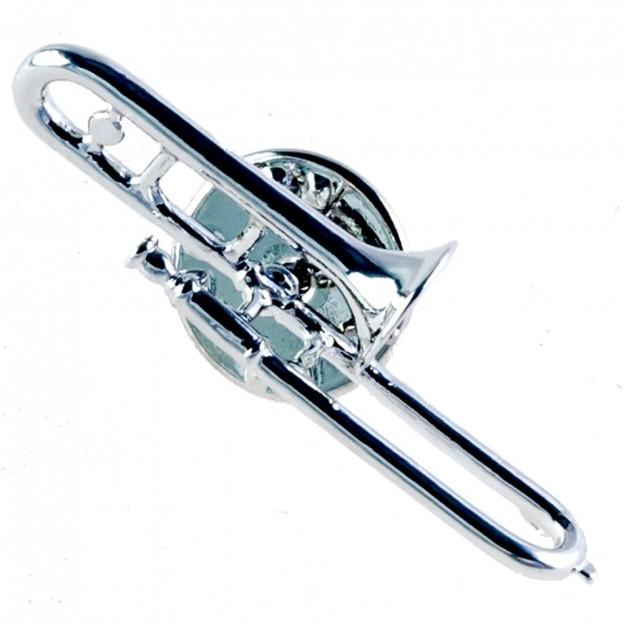 Pin trombón plateado