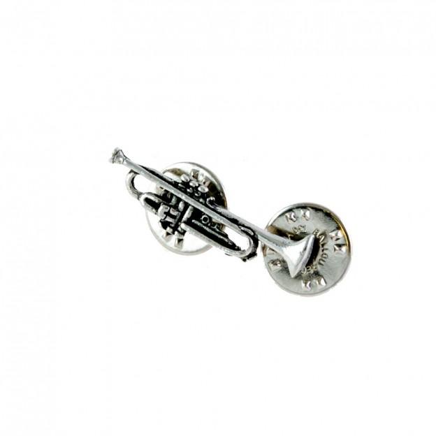 Pin trompeta plateado