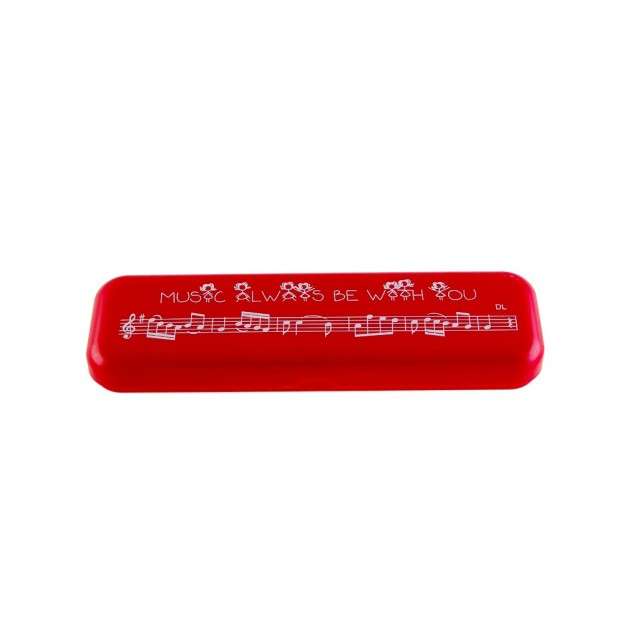 "Plumier rojo ""Music always be with you"""