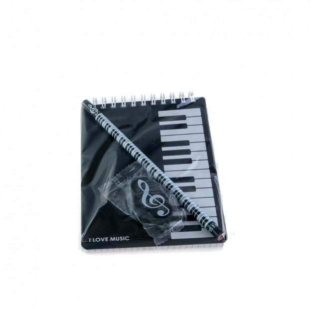 Set teclado con bloc de notas, lápiz y goma