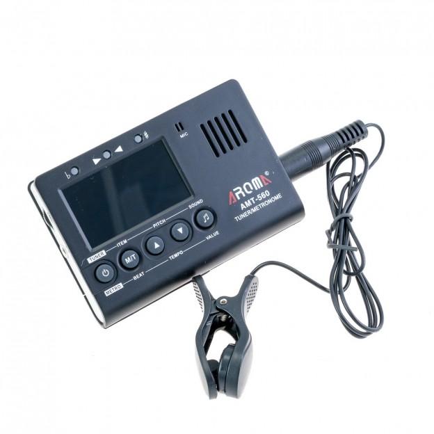 Metrónomo/afinador y generador de tono Aroma AMT-560 en negro