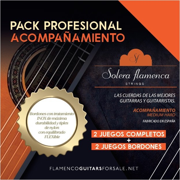 Pack profesional de cuerdas guitarra Solera Flamenca Acompañamiento tensión media-alta