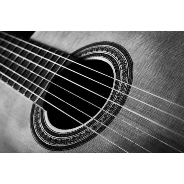 GC21 Postal de felicitación blanco y negro guitarra clásica