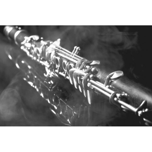 GC22 Postal de felicitación blanco y negro clarinete