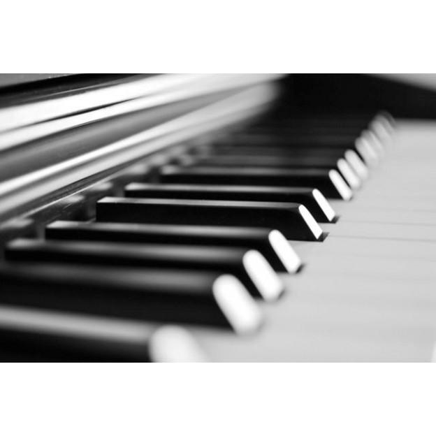 GC24 Postal de felicitación blanco y negro piano