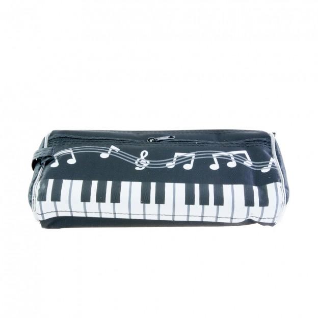 Plumier lila teclado de piano y notas musicales