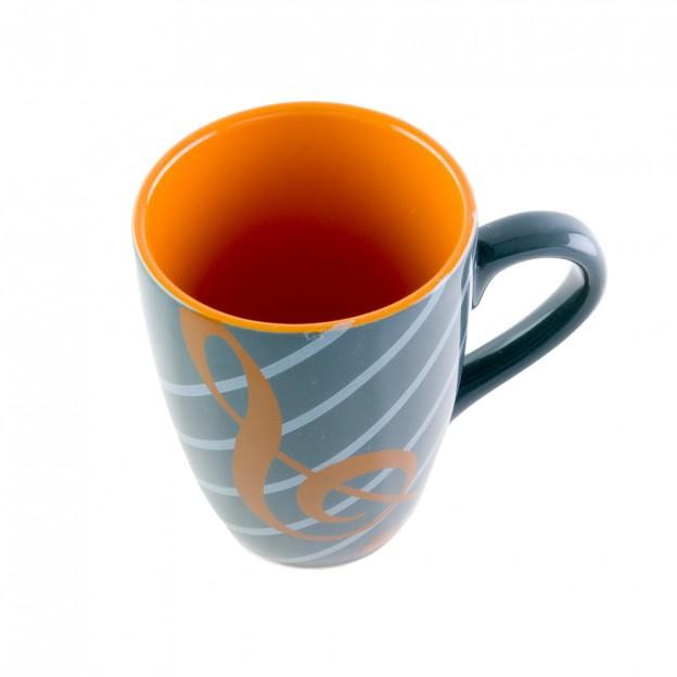 Taza naranja porcelana clave de sol