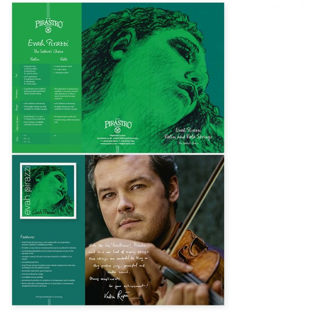 Tríptico Pirastro Evah Pirazzi violín/viola