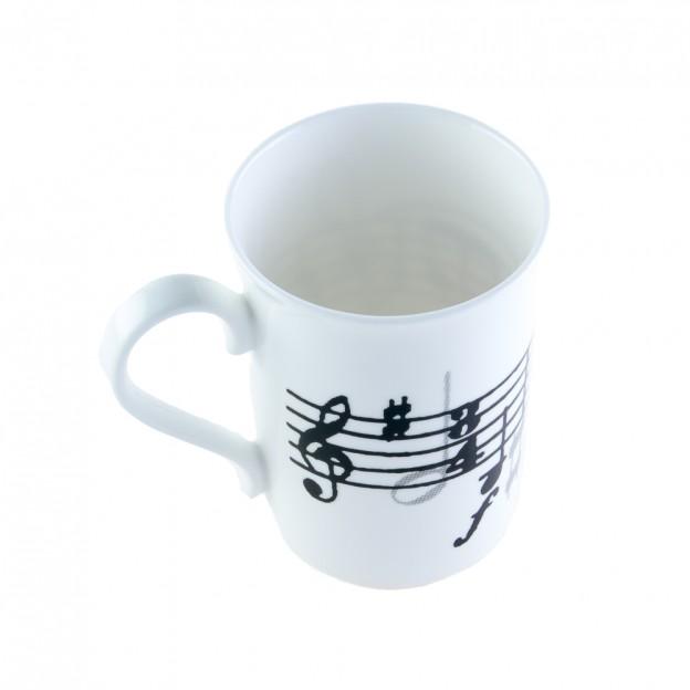 Taza blanca porcelana partitura y clave de sol
