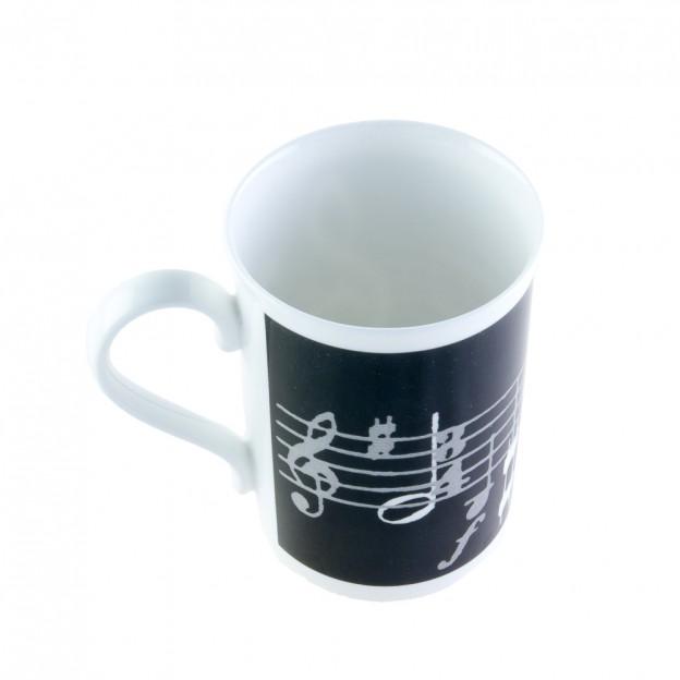 Taza negra porcelana partitura y clave de sol
